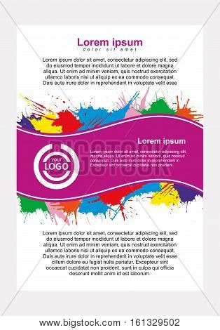 Abstract vector template design, vertical flayers, brochure, web sites, page, leaflet, with colorful watercolor paint splash
