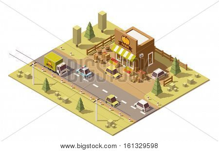 Vector isometric low poly roadside farmers food and grocery store