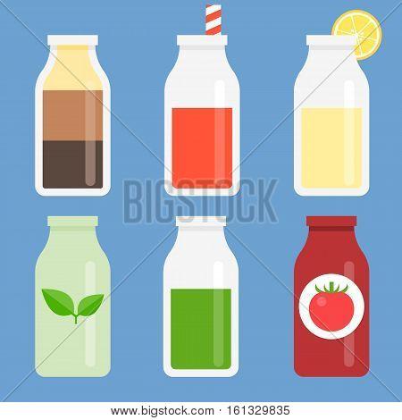 Bottle icon set collection, flat design icon