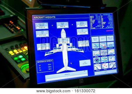 Moscow Russia - February 18 2015: Real Flight Hydraulic Simulator for the Training of the Pilots. Filter Applied.
