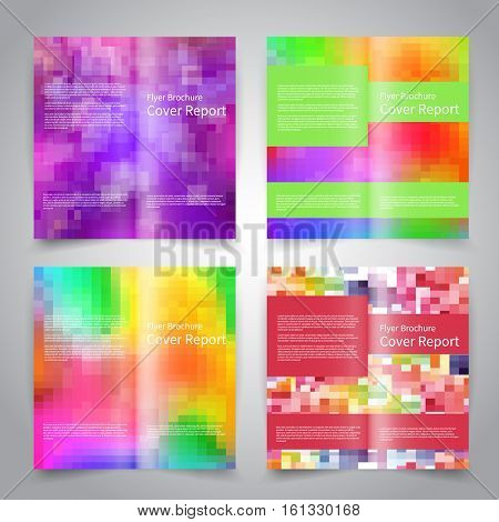 Brochure design templates set with abstract geometric colorful background. Vector brochure mockup EPS10