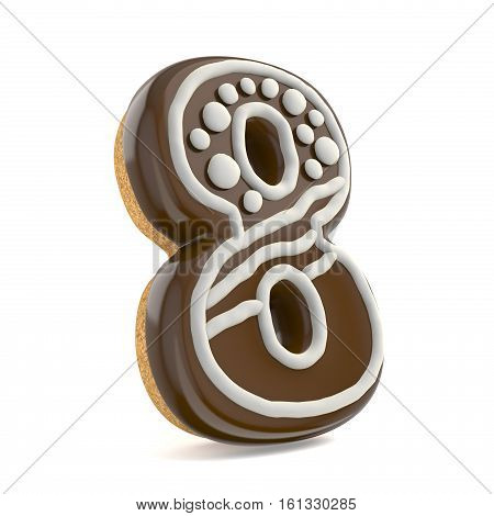 Number Eight 8 Chocolate Christmas Gingerbread Font Decorated With White Lines And Points. 3D