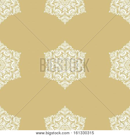 Seamless classic vector golden and white pattern. Traditional orient ornament. Classic vintage background