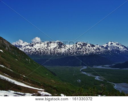 landscape view of snowcapped mountains with stream