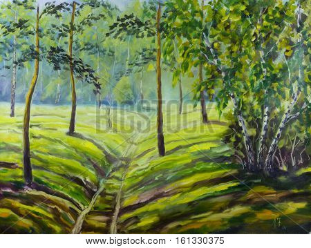 Original oil painting of pine trees and bushes beautiful meadow flowers on canvas. Modern Impressionism Art. Impasto artwork.