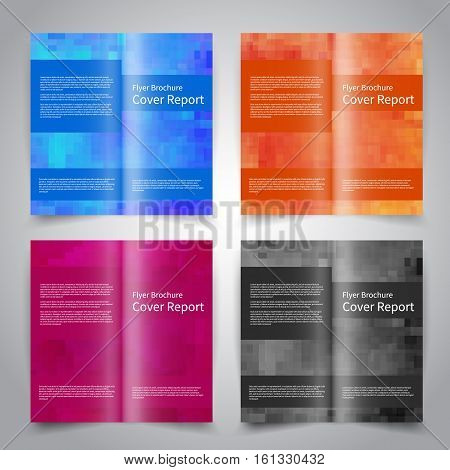 Brochure design templates set with abstract geometric background. Blue orange purple black colors. Vector brochure mockup EPS10