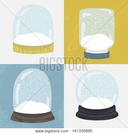 Set of 4 illustrations with cute handdrawn snow globe. Decorative vector clipart element. Empty glass balls with wood base on textured background. Fully editable christmas template in trendy colors