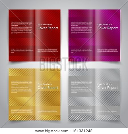 Brochure design templates set with abstract festive background with stripes. Red purple gold silver colors. Vector brochure mockup EPS10