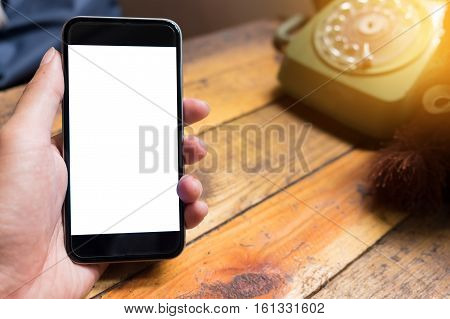 man using smart phone with blank mobile. Smart phone with blank screen and can be add your texts or others on smart phone.