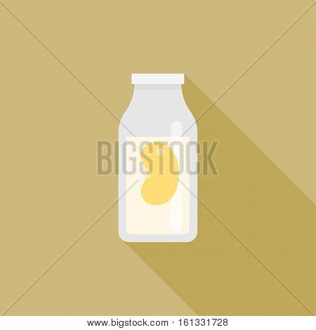 Soy milk icon in carton, flat design vector