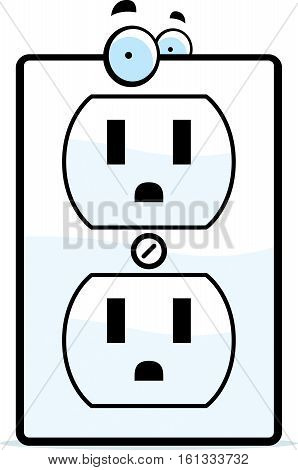 A cartoon electrical outlet smiling and happy.
