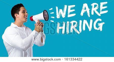 We Are Hiring Jobs, Job Working Recruitment Employment Business Concept Young Man Megaphone