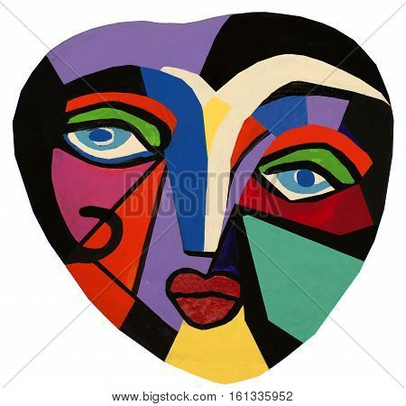 Abstract hand painted face on a heart shaped dough