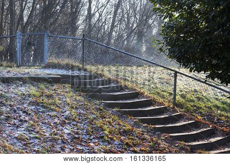 Staircase to footpath on a dike in the Netherlands