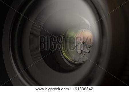 Camera Lens Close Up. DSLR Shutter Background.