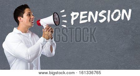Pension Retirement Business Concept Young Man Megaphone