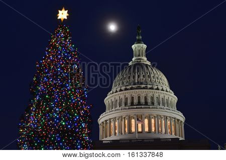 Washington DC in Christmas - The Capitol building and the Christmas Tree at night