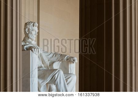 Lincoln Statue detail at Lincoln Memorial - Washington DC, United States