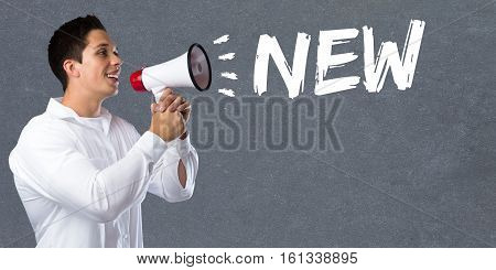 New Promotion Information Advertising Advertisement Business Concept Young Man Megaphone