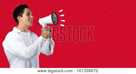 Empty Board Blank Business Concept Copyspace Copy Space Red Information Message Young Man Megaphone