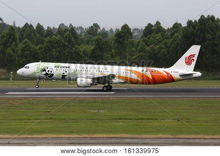 Air China Airbus A321 Airplane Chengdu Airport