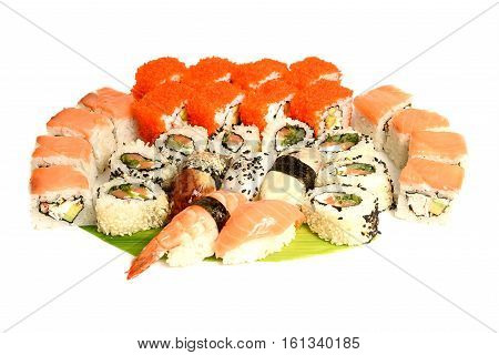 Japanese food restaurant delivery - sushi maki california gunkan roll platter big set isolated at white background, above view.