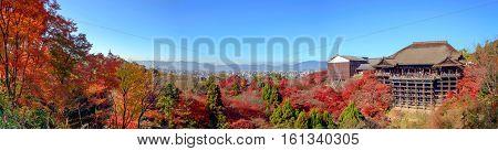 Kyoto, Japan - December 8, 2015: Panorama Of Kiyomizu-dera Temple In Autum Season