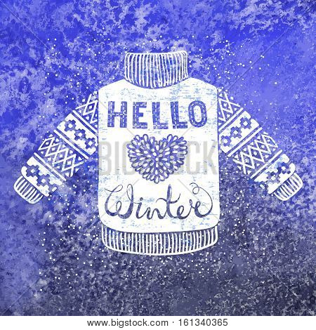 Hello winter text and knitted wool pullover with a heart. Seasonal shopping concept design for the banner or label. Isolated vector illustration.