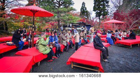 People Visit Shinto Shrine In Kyoto, Japan