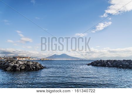 the view of the bay of Naples. Italy