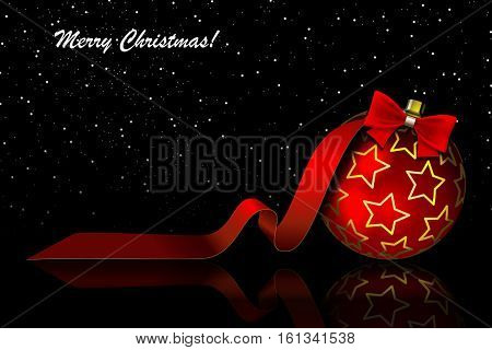 Christmas red ball with bow and ribbon on a black background. illustration.