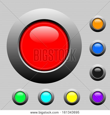3d buttons set. Vector illustration. On Grey background
