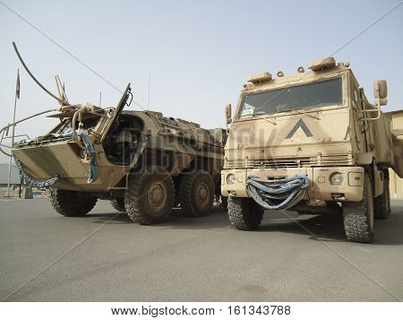 MAZAR - I - SHARIF / AFGHANISTAN - OCTOBER 16 2010: german military ambulance vehicle Duro Yak and Fox stands on field hospital in german base marmal