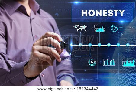 Technology, Internet, Business And Marketing. Young Business Person Sees The Word: Honesty