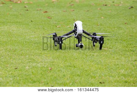 Aerial drone getting ready to start doing aerial photography and aerial footage