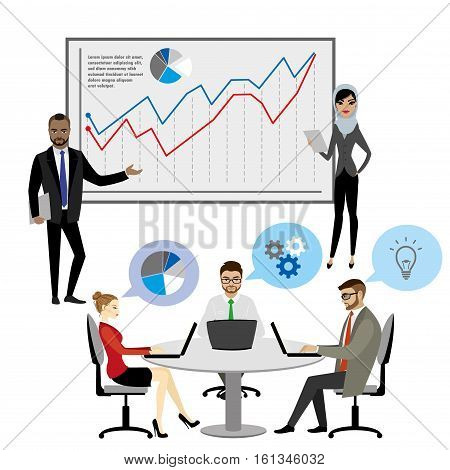 Business People Group Presentation ,Flip Chart Finance ,isolated on white background ,stock vector illustration
