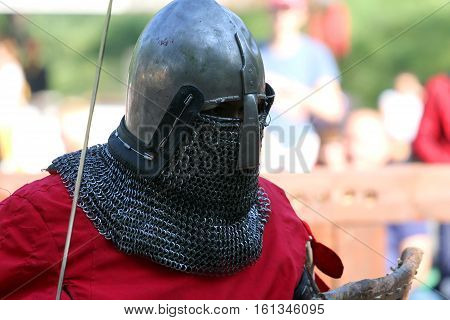 The Medieval Knight Before Battle. Portrait