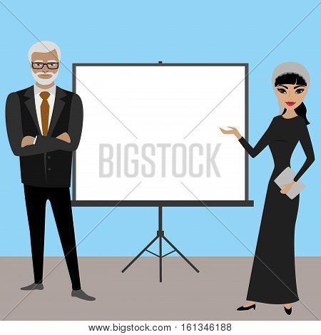 Business people with projector screen . Presentation concept