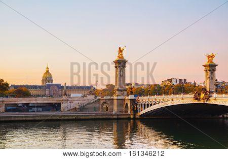Pont Alexandre III (Alexander III bridge) in Paris France at sunrise