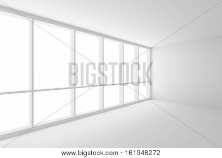 Business architecture white colorless office room interior - corner of white empty business office room with white floor white ceiling white walls and large window and empty space 3d illustration