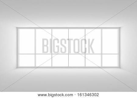 Business architecture white colorless office room interior - empty white business office room with white floor white ceiling white walls and large window and empty space 3d illustration