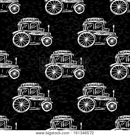 Seamless pattern vintage car hand drawn on black background stock vector illustration