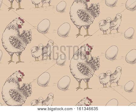 Vector seamless pattern. Illustration vintage hen, brood, chicken and eggs on beige background. Hand drawn.