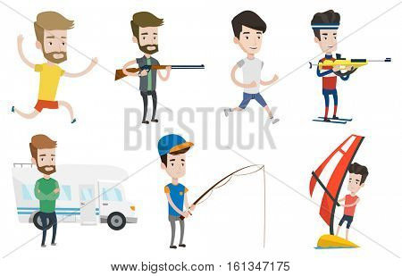 Caucasian sportsman taking part in ski biathlon competition. Biathlon runner aiming at the target. Biathlon shooter with a weapon. Set of vector flat design illustrations isolated on white background.