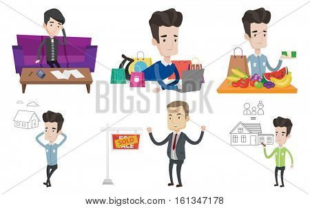 Unhappy caucasian man calculating home bills. Man accounting costs and mortgage for paying home bills. Man analyzing home bills. Set of vector flat design illustrations isolated on white background.