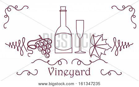 Grape Berry Leaf Vine Bottle