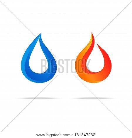 Water Swirl Fire Flame Gradient Logo Couple