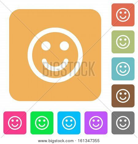 Smiling emoticon icons on rounded square vivid color backgrounds.
