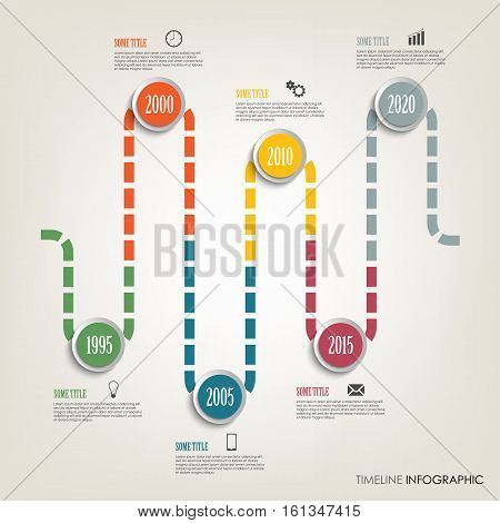 Time line info graphic with colored design tortuous direction template vector eps 10