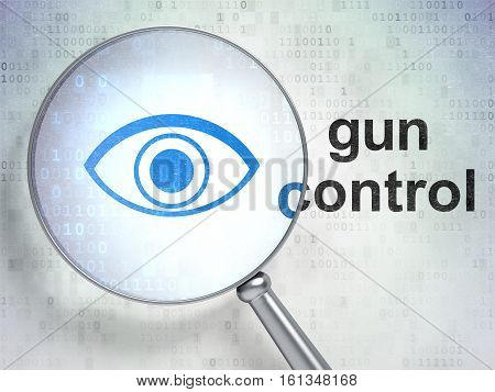 Privacy concept: magnifying optical glass with Eye icon and Gun Control word on digital background, 3D rendering